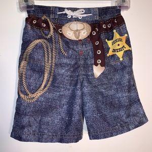 Wonder Kids Cowboy Inspired Swim Trunks